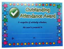 Islamic reward Certificates A5 size ( Outstanding Attendance Award ) Colour NEW